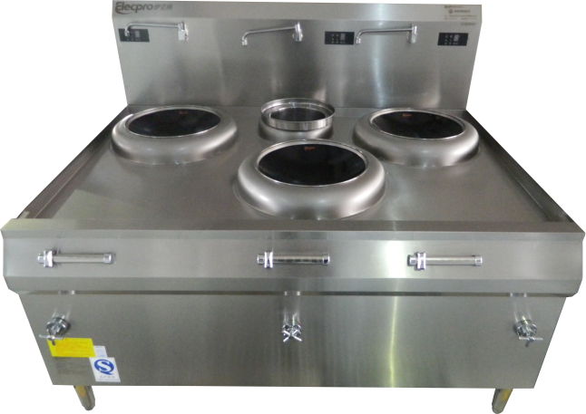 Induction Wok with Rear Stock Pot  (Triple-Head)